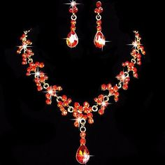 Elegant Red and Silver Petal Drop Rhinestone Necklace and Earrings Set – UCHARMME.co.nz