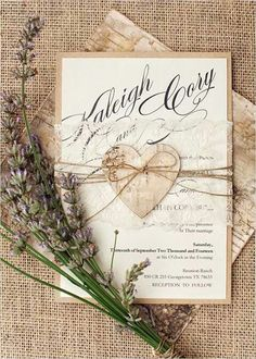 Wedding invitation with wooden heart and transparency lace