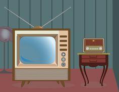 Radio y Televisor- Vintage Poster Background Design, Box Tv, Illustrations, Television Set, Illustration, Illustrators
