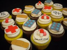 Medical cupcake toppers 12 edible toppers by LoveTheTopper, $30.00