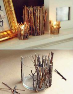 "Twig Candle... and we can spray paint these twigs too if we want? These ""glass"" (aka plastic) containers can come from the dollar store"