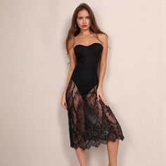 Yissang Strapless Sweet Black Lace Dress Elegant Embroidery Off Shoulder SeeThrough Night Club Dresses Vestido de Renda-in Dresses from Women's Clothing & Accessories on Aliexpress.com   Alibaba Group