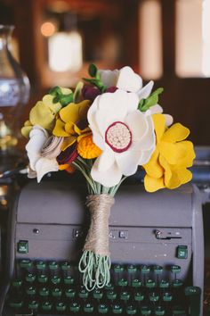 felt flower bouquet // photo by June Bug Co., bouquet by Muncle Fred Art // http://ruffledblog.com/autumnal-texas-wedding