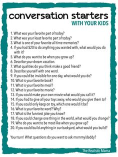 20 Conversation Starters for Kids - FREE PRINTABLE (print and use at family meals or bedtime!)