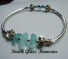 Silver Sea Glass Bracelet with Aqua Beach Glass Jewelry Seaglass Bracelet. $28.50, via Etsy.