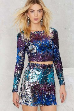Shore Thing Sequin Top - Clothes | Party Shop | Cropped | Shirts + Blouses | Sequins & Glitter