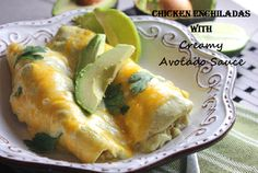 Chicken Enchiladas with Creamy Avocado Sauce! Easy and such a nice change from regular enchies!