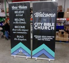 City Bible Church (Jacksonville, FL) used their economy banners to share their core values.