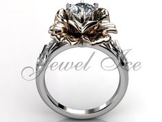 14k two tone white and rose gold diamond unusual by Jewelice