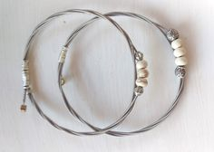 White turquoise and silver beaded guitar string bangles