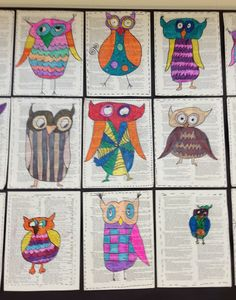 Owls. third grade. Apex Elementary Art