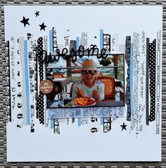 Have b+w photo with colored strips or do as pictured but have to mat pic in a color that makes the photo stand out #scrapbooklayouts
