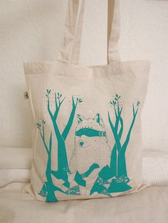 Cotton Tote Bag Bear by @Britta Manger on @Etsy, €12.00 #illustration #handmade #print #bear #forest #woodland #nature #teal
