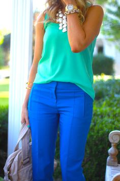 Colbalt blue pants, green top and white necklace....I. AM. IN. LOVE!!! Perfect spring and summer outfit for work or parties!