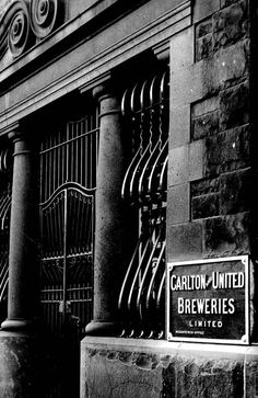 The bluestone exterior of the Carlton United Breweries building