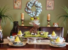 Easter decor with Easter eggs and Easter Bunny
