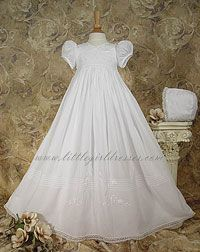 Buy Cotton Broadcloth Christening Gown by www.littlegirldresses.com