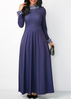 Long Sleeve High Waist Maxi Dress.