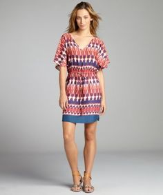 "orange 'Zambia Lilly' coverup dress Lightweight ikat printed woven V-neck Wide batwing short sleeves Drawstring waist Unlined; slip-on Size S measures approximately 40"" long, and may vary by size"