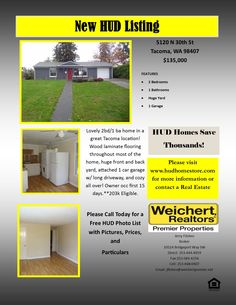 Welcome Home!! Lovely 2bd/1 ba home in a great Tacoma location! Wood laminate flooring throughout most of the home, huge front and back yard, attached 1 car garage w/ long driveway, and cozy all over! Owner occ first 15 days.**203k Eligible.