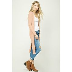 Forever21 Longline Ribbed Cardigan ($18) ❤ liked on Polyvore featuring tops, cardigans, dusty pink, v neck long sleeve top, white top, white long sleeve cardigan, v-neck cardigan and full length cardigan