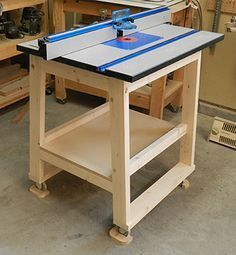 The finished Dowelmax router stand with 5 degree angled legs for stability, and router top installed. Full step-by-step instructions available at Dowelmax.com.