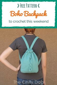 Crochet Purses Patterns Free Crochet Pattern: Easy to crochet boho backpack or purse - Free Crochet Pattern: Boho Backpack Purse - This easy to make casual tote can be worn as a backpack or over one shoulder like a purse Purse Patterns Free, Crochet Purse Patterns, Bag Pattern Free, Bag Patterns To Sew, Sewing Patterns, Crochet Handbags, Crochet Purses, Crochet Bags, Crochet Ideas