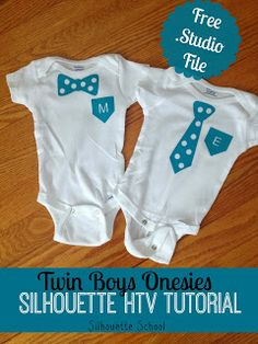 Super cute baby boy onesie made with heat transfer vinyl and your silhouette cameo. Maybe enlarge for dad? Silhouette Cameo, Silhouette School, Silhouette Projects, Silhouette Machine, Silhouette Studio, Free Silhouette, Twin Baby Boys, Twin Babies, Twin Twin