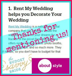 Thx @savvybride for the LOVE & mentioning @RentMyWedding on your @aboutdotcom feature! Check it out: http://ift.tt/1RnbPtj @aboutpopstyle #DIY