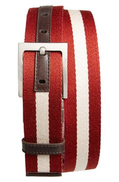 Bally+'Tonni'+Stripe+Canvas+&+Leather+Belt+available+at+#Nordstrom