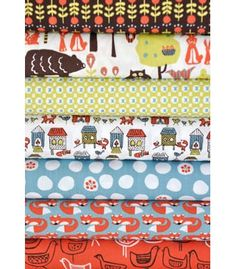 charm pack bundles from monaluna....sooo cute!  esp the fox going into the chicken coop