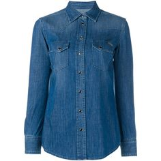 Dolce & Gabbana Denim Long Sleeved Shirt ($280) ❤ liked on Polyvore featuring tops, camisas, shirts, blue shirt, denim shirts, blue top, long sleeve snap button shirts and snap button shirts