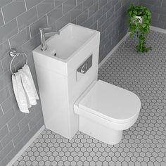 Metro Combined Two-In-One Wash Basin & Toilet wide x Tiny Bathrooms, Tiny House Bathroom, Bathroom Toilets, Modern Bathroom, Small Bathroom, Bathroom Ideas, Small Downstairs Toilet, Small Toilet Room, Downstairs Bathroom