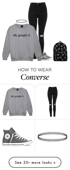 """""""OOTD"""" by spacecupcak3 on Polyvore featuring Topshop, Converse, women's clothing, women, female, woman, misses and juniors"""