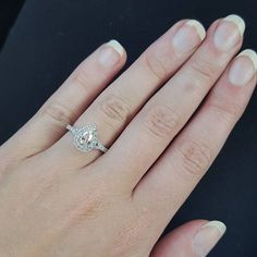We LOVE Rochelle's pear halo engagement ring! It's so pretty and just perfect! Pear Diamond Rings, Halo Diamond Engagement Ring, Engagement Rings, Jewelry Shop, Wedding Designs, Wedding Day, White Gold, Pendants, Fancy