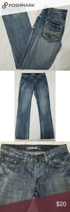 """Flapper Straight Leg Jeans 30x32 Men's Flypaper straight leg jeans, size 30x32. They are in excellent used condition with no stains, tears, rips or holes that I can see.  100% cotton   Waist: 31"""" Inseam: 31.5"""" Outseam: 40"""" Front rise: 9"""" Back rise: 13.5"""" Hips: 40"""" Leg opening: 15""""  All items come from a smoke and pet free home. Flypaper Jeans Straight"""