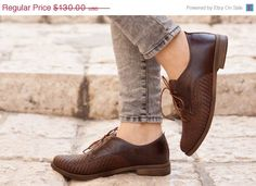 Valentines Day Sale 20%, Free Shipping, Brown Leather Shoes, Woven Oxford Shoes, Close Shoes, Flat Shoes, Brown Shoes by BangiShop on Etsy https://www.etsy.com/listing/215550825/valentines-day-sale-20-free-shipping