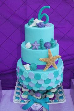 Stunning cake at a Little Mermaid Birthday Party! Chocolate molds with multi-coloured chocolate for decorations and you could do the same for cupcakes! Little Mermaid Cakes, Mermaid Cupcakes, Little Mermaid Parties, The Little Mermaid, Little Mermaid Birthday Cake, Cute Cakes, Pretty Cakes, Sea Cakes, Love Cake