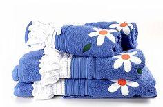 Conjunto de Toalha Aplicada Azul Flores