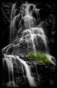 This is Silver Falls located near Pagosa Springs, Colorado. The sun was illuminating the grass on the rocks. Adding the black and white and revealing the vibrant green of the grasses seemed to emphasise this the most for me. Pagosa Springs, Silver Falls, The Rock, Grass, Colorado, Waterfall, To Go, Adventure, Black And White