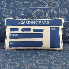 Boarding pass throw pillow from Land of Nod for my nephew's airplane room