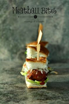 Meatball Bites | Cravings of a Lunatic | Cute little meatball slider bites would be perfect for any game day celebration.