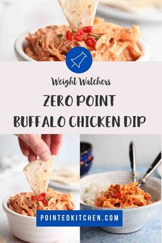 This buffalo chicken dip is zero Smart Points per serving on Weight Watchers Blue Purple plans 2 Points on the Green plan. Made with 4 ingredients, it's easy to make. A perfect WW snack recipe. Poulet Weight Watchers, Weight Watchers Pasta, Dessert Weight Watchers, Weight Watchers Breakfast, Weight Loss, Buffalo Chicken Dip Recipe, Chicken Dips, Wheat Free Recipes