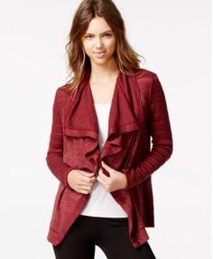 Lucky Brand Draped Flyway Cardigan cotton/poly/modal lotus dark red, lucky black szS 89.50