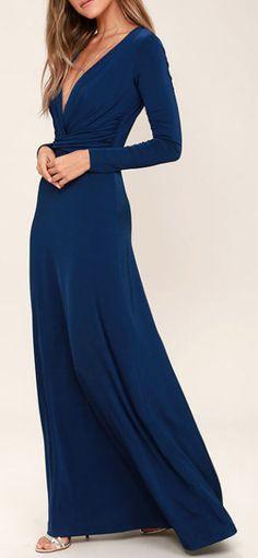 Chic-Quinox Navy Blue Long Sleeve Maxi Dress
