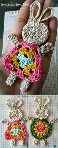 Crochet Motif Crochet The Granny Bunny Applique Free Pattern-Crochet Bunny Applique Free Patterns - Crochet Bunny Applique Free Patterns: Easy and Quick Easter Bunny / Rabbit Applique and Motifs crochet pattern most free for Easter crochet decoration Bunny Crochet, Crochet Mignon, Easter Crochet Patterns, Crochet Motifs, Cute Crochet, Crochet Flowers, Crochet Animals, Crochet Squares, Knitting Patterns