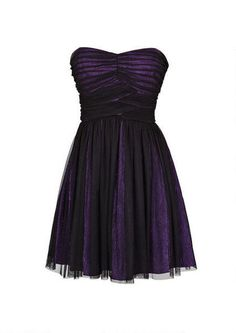 Strapless mesh party dress with metallic underlay. Back zipper for better fit. Fully lined.
