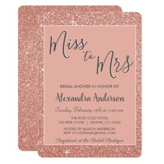 Miss to Mrs Rose Gold Glitter Bridal Shower Card - glitter gifts personalize gift ideas unique