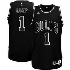 f9eed76e3 Derrick Rose Chicago Bulls Black   White Swingman Jersey - Black