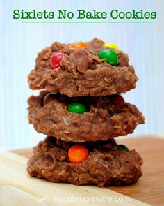 Sixlets No Bake Cookies - easy no bake cookies topped with Sixlets candies http://www.insidebrucrewlife.com